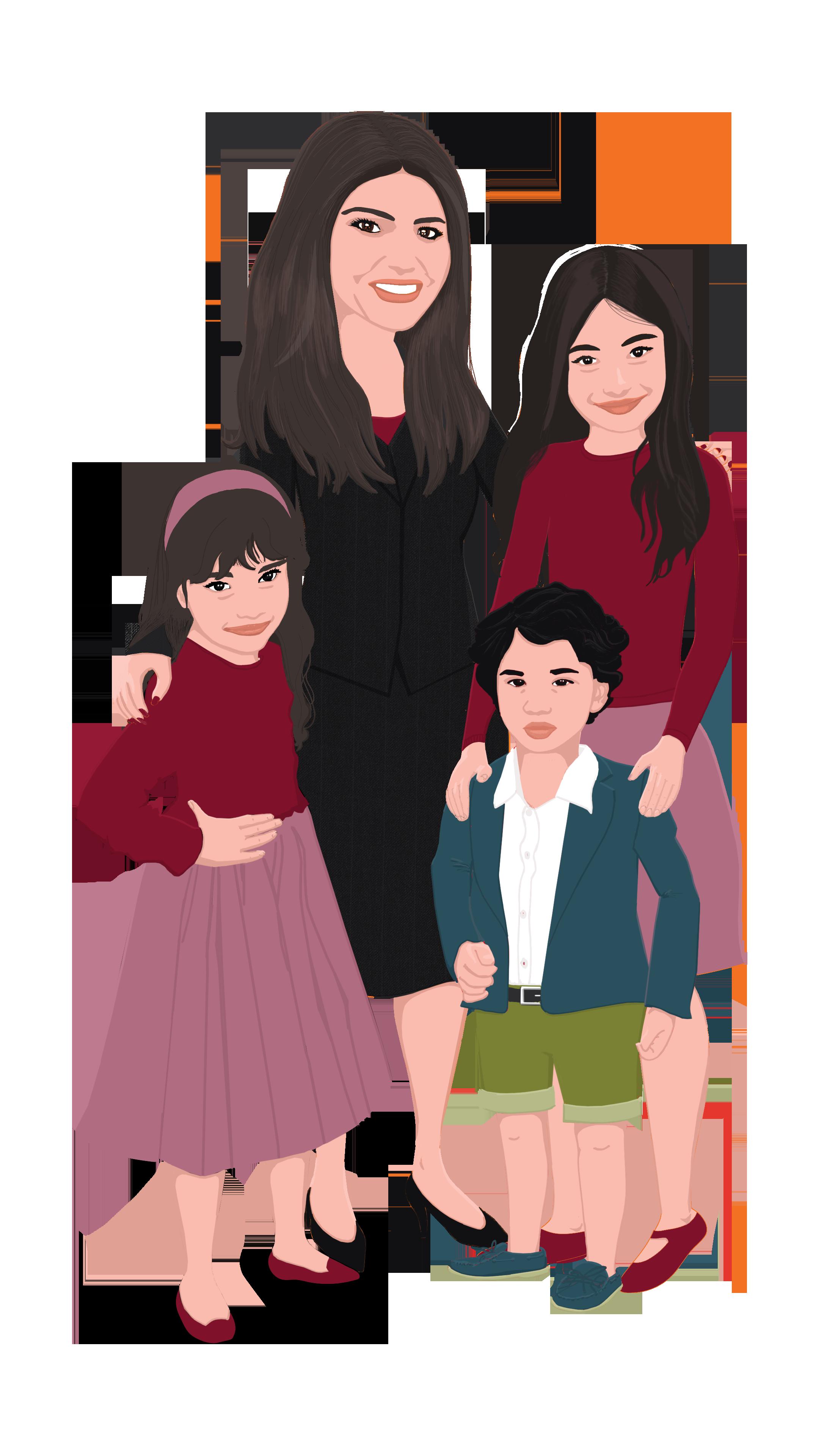 Firasat and her kids